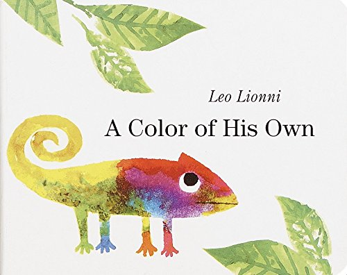 A picture book to build self-esteem and self-confidence in children  A colour of his own by Leo Lionni, picture book. A chameleon with a body which has lots of different colours looking sadly at a leaf.   <img data-attachment-id=