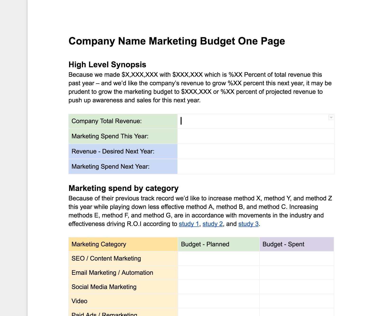 Easy Free Marketing Budgeting One Page Template