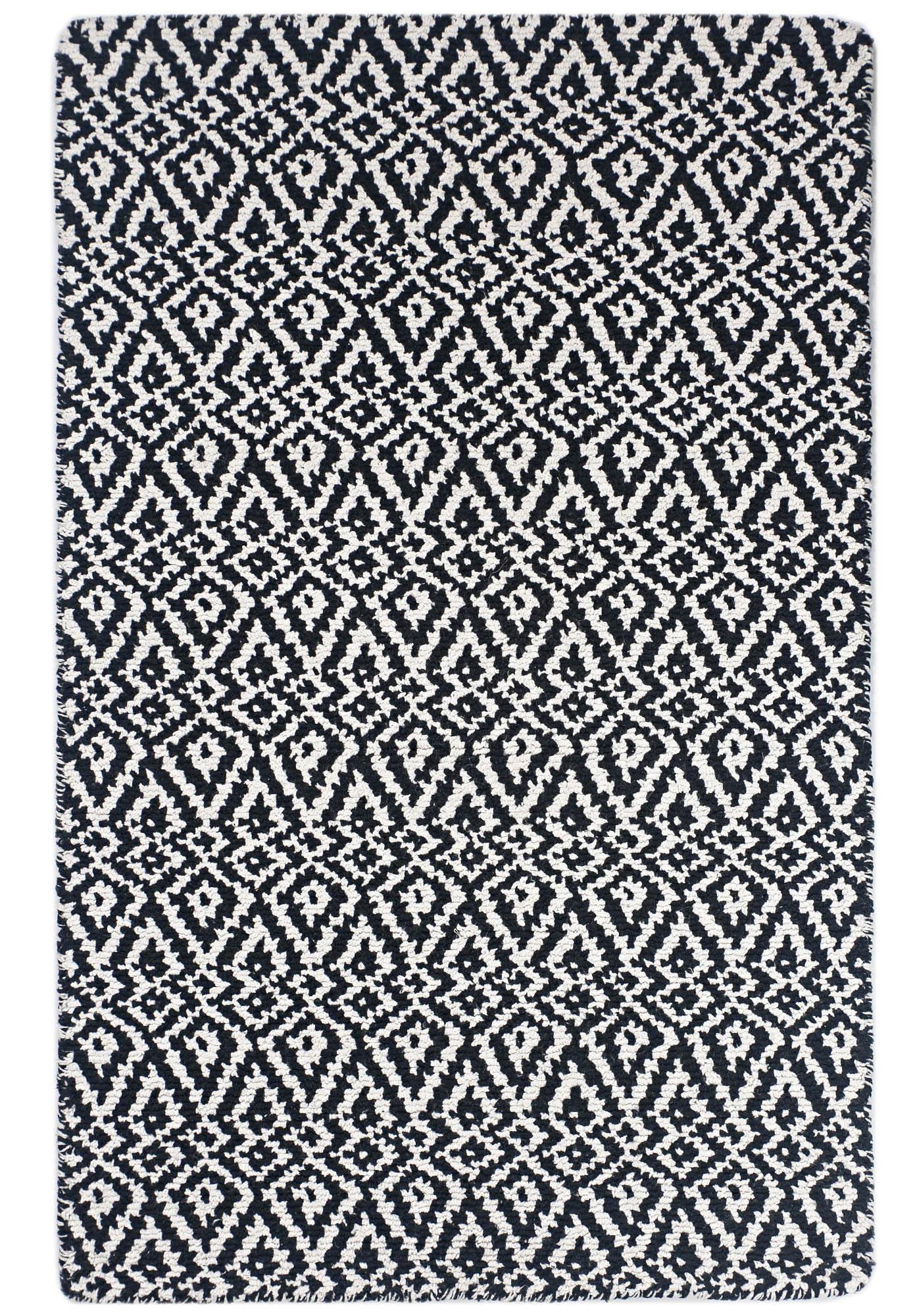 Oslo Black And White Eco Cotton Loom Hooked Rug Hook Loom