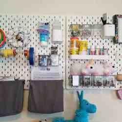 IKEA Peg Board | Craft Room Organization | Hooked by Kati