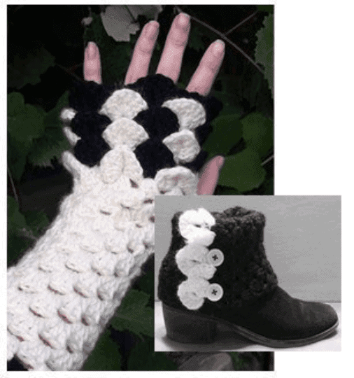 Dragon Scale Fingerless Gloves And Boot Cuffs Crochet Pattern Set