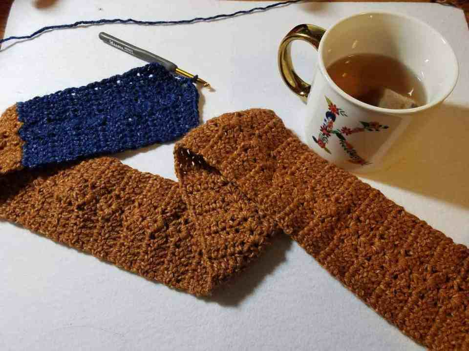 Denim Duet Scarf on Joy of Motion Crochet, guest blogger Hooked by Kati
