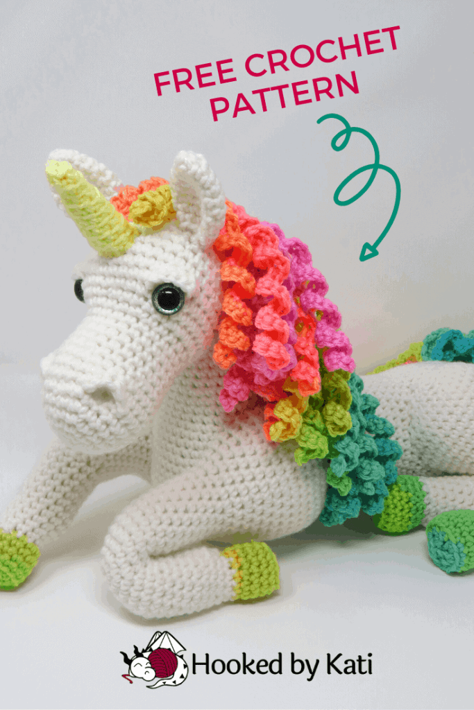 Ulyssa the Unicorn, free amigurumi crochet pattern by Hooked by Kati.