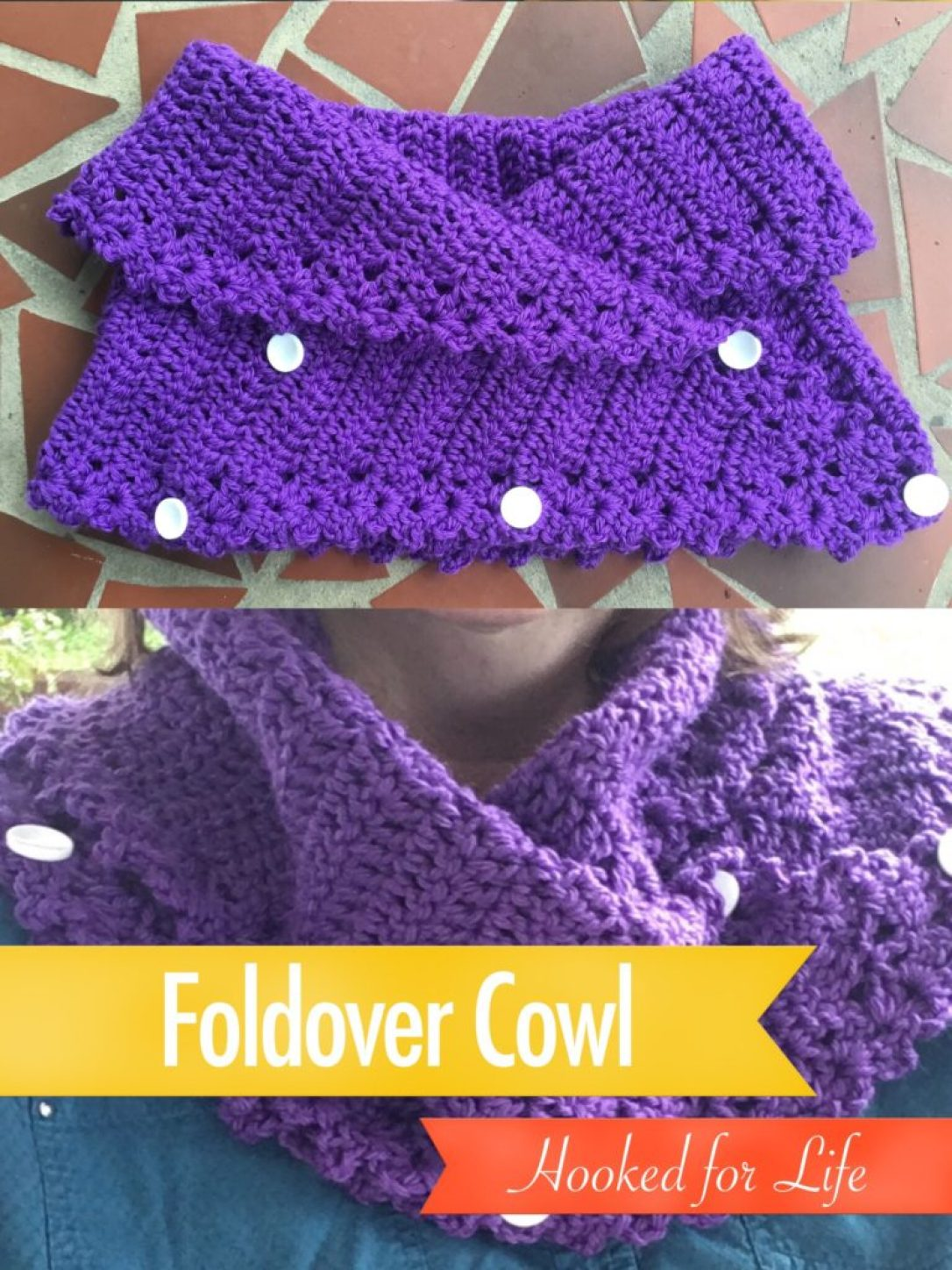 Foldover Cowl Free Crochet Pattern by Mary Beth Temple for Hooked for Life