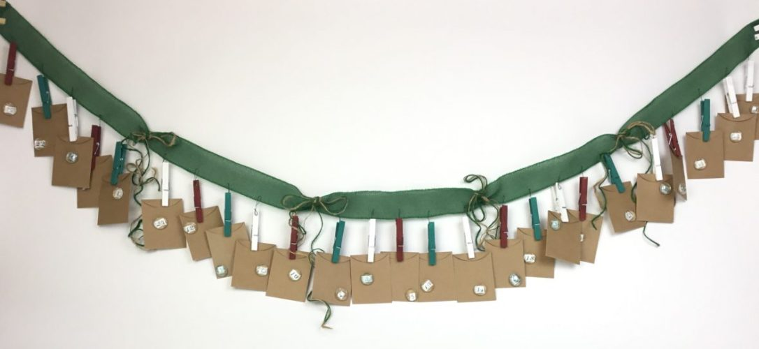 Free craft pattern and video for the Advent Garland, Dollar Tree craft challenge! #Christmas