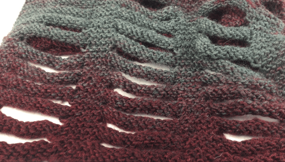 3-D Knit Cowl on Hooked for Life Publishing before finger chaining process