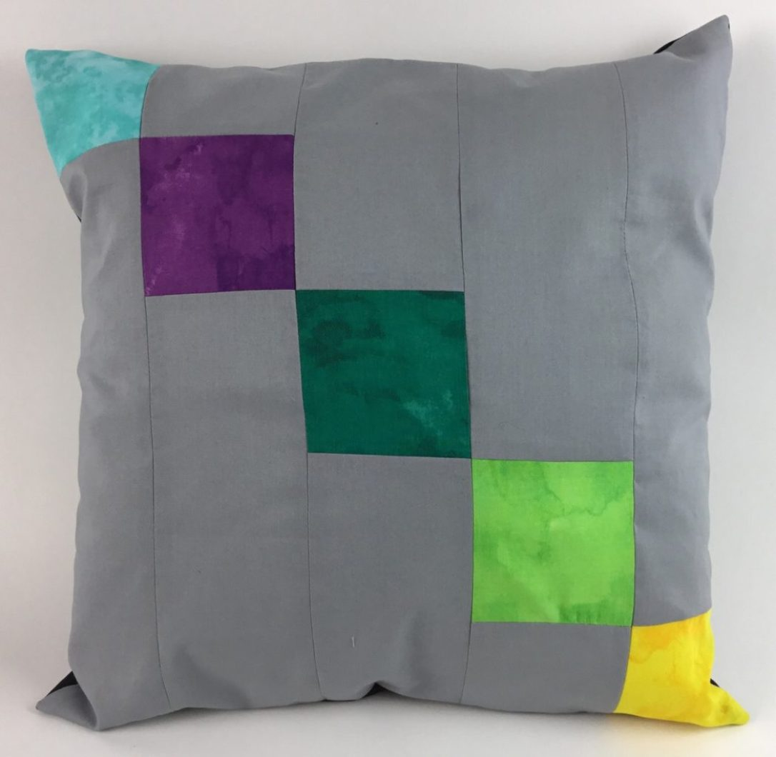 Free sewing pattern Color Blocked Patchwork Pillow by Hooked for Life Publishing
