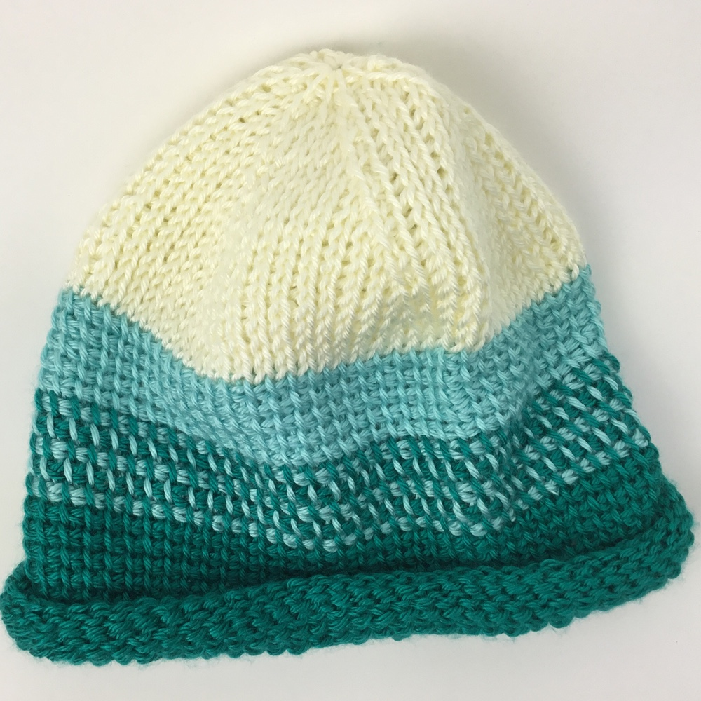 Tunisian roll-brimmed hat in three colors by Mary Beth Temple, pattern for students of Stitch Makers Live online crochet conference