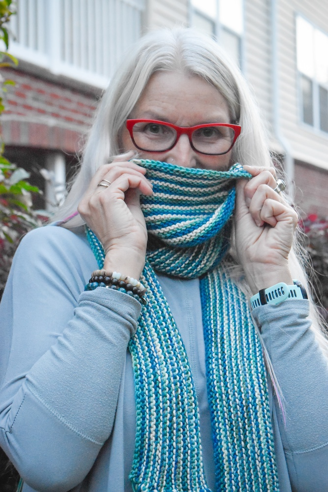 Free Knit Pattern East Striped Garter Stitch Scarf with Fringe 1