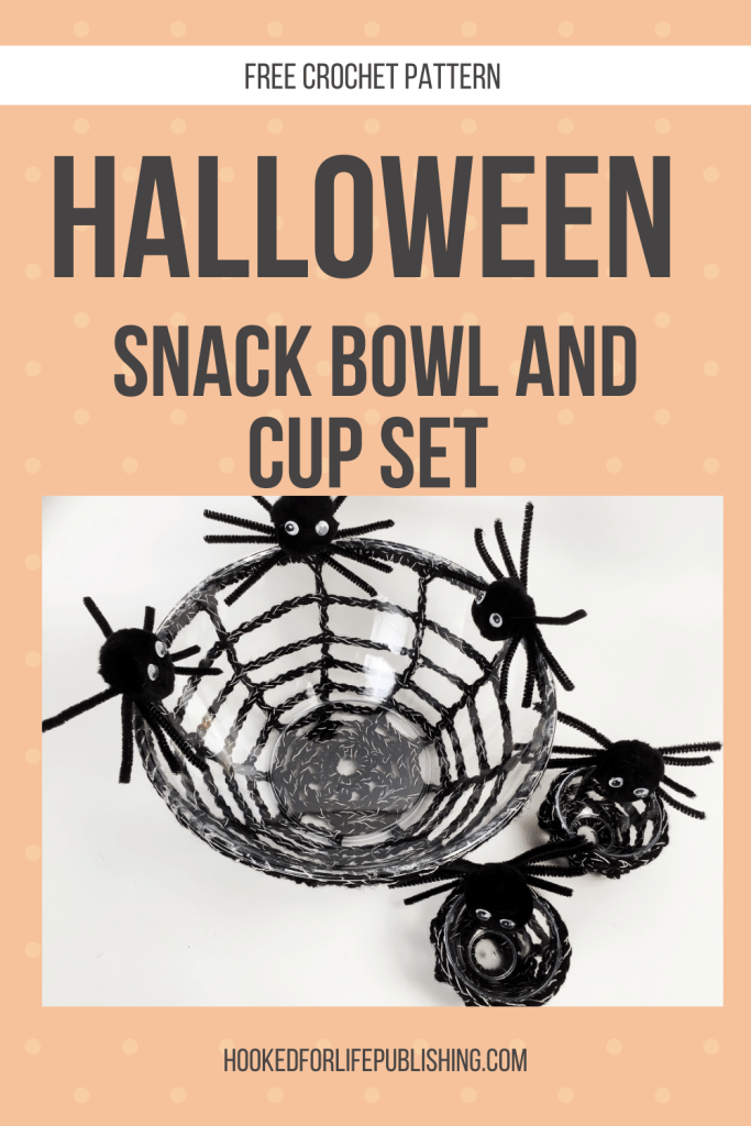 Halloween Snack Bowl and Cup Set free crochet pattern on the blog, super inexpensive and quick to make up!