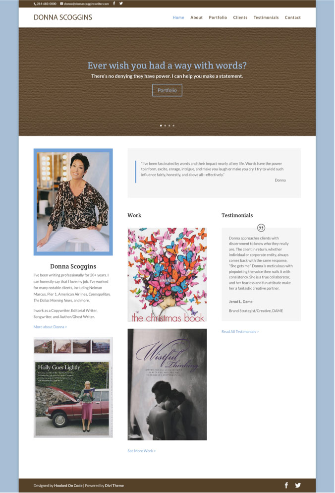 Donna Scoggins - Responsive WordPress Website Redesign Homepage