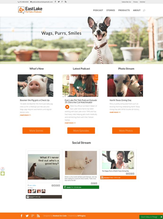East Lake Pet Talk + Podcast website redesign
