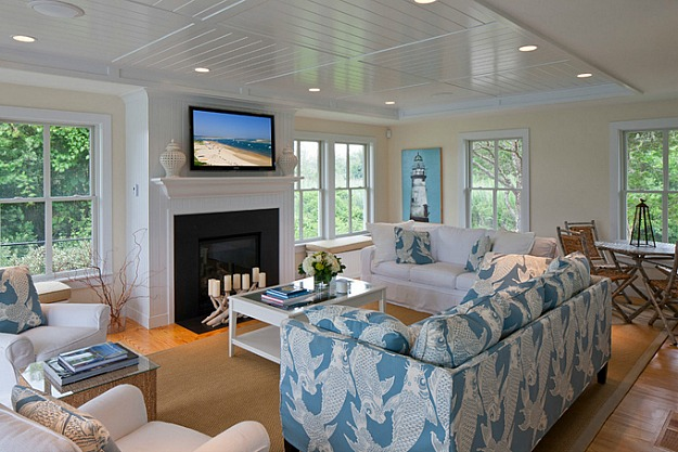 Paneled Ceiling Blue And White Living Room Cape Cod