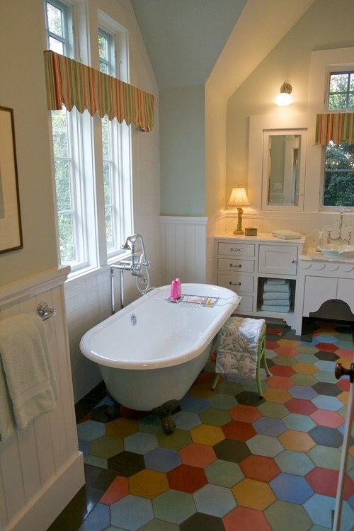 "Creating ""Happy Rooms:"" A Colorful Farmhouse in the City ... on Farmhouse Bathroom Floor Tile  id=72229"