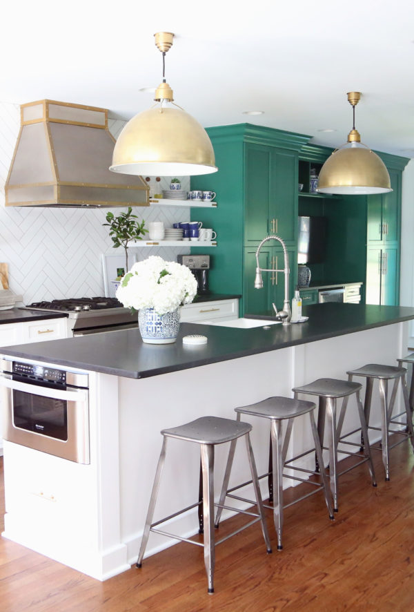 Emily A Clark green and white kitchen reno