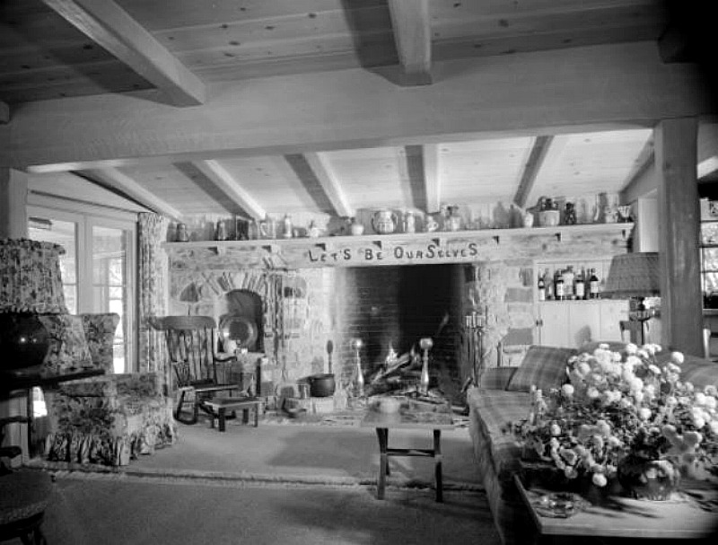 Dick Powell June Allyson House 1949 Fireplace