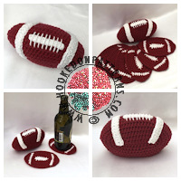 Crochet patterns for home - American Football Coaster Crochet Pattern