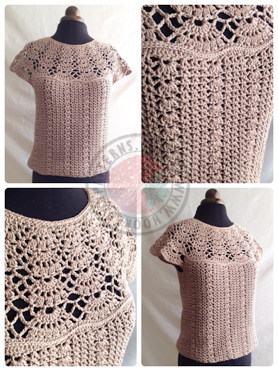 Blouse Crochet Pattern - Bellissa Tucked Hem Top