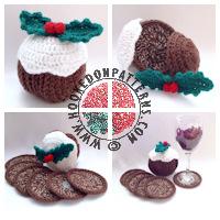Christmas crochet patterns - Christmas Pudding Coaster Pattern