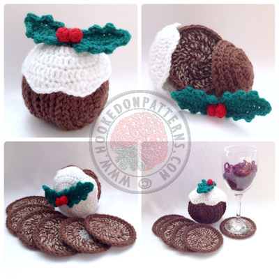 Christmas Pudding Coaster Set Crochet Pattern