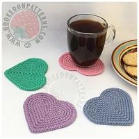 Crochet Along - Free Heart Shaped Coasters Crochet Pattern