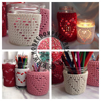 Crochet patterns for home - Heart shape Jar Cover Pattern