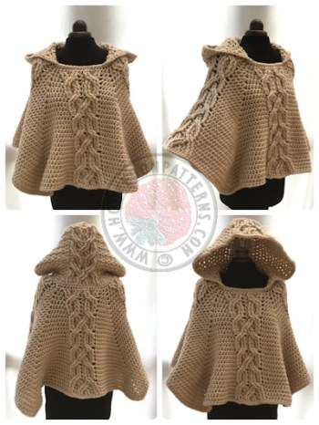 Milena Twist Cable Poncho Crochet Pattern