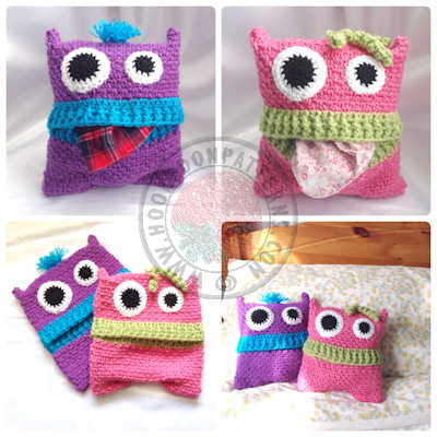 Pyjama Monsters pillow case cover crochet pattern