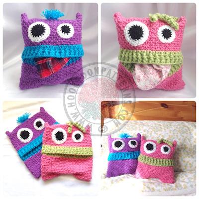 Pyjama Monsters pillow case cover crochet pattern