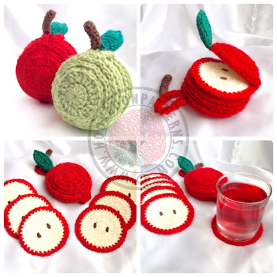 Apple Coasters Crochet Pattern