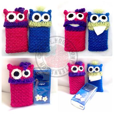 Tissue case crochet pattern - Monsters