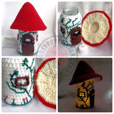 Jar cover crochet pattern -  Toadstool