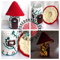 Crochet patterns for home - Toadstool Fairy House Jar Pattern