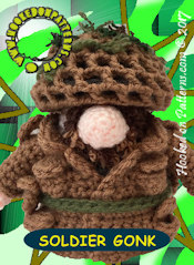 Soldier Gonk Crochet Pattern Card 2