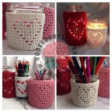 Heart Jar Cover Candle Holder Crochet Pattern