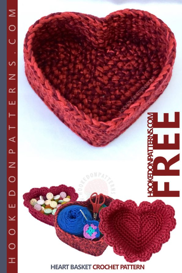 Heart Basket Free Crochet Pattern - This pattern uses my free heart coaster pattern as the base to create cute heart shaped baskets. Create different sizes baskets by simply changing your yarn and hook size. The PDF download includes guides to make scented heart pouches and pockets too! #crochet #crafts #baskets