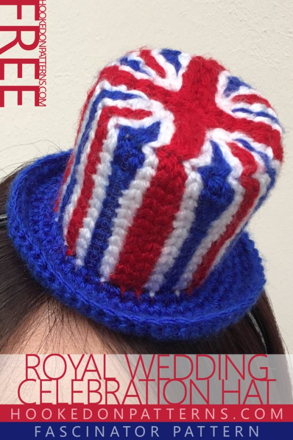 Crochet Union Jack Fascinator Free Pattern from Hooked On Patterns. Celebrate the Royal Wedding with this cute top hat fascinator! A crocheted Union Jack top hat to fasten onto a headband or hair clips.