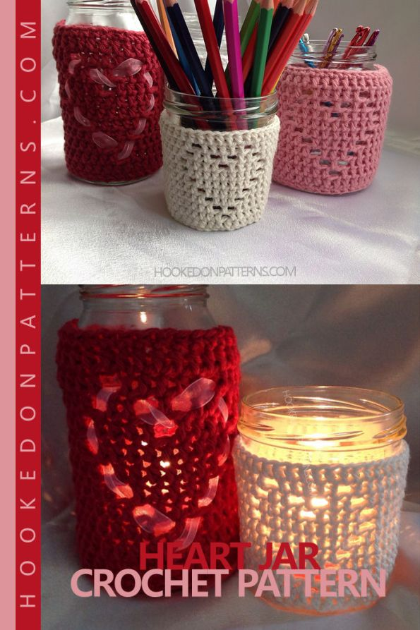 Heart Jar Cover Crochet Pattern for jar candles or decorative containers.
