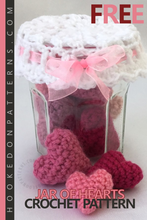 Small Hearts Free Crochet Pattern Mason Jar Of Hearts - Create a sweet jar of hearts display feature with this free crochet hearts pattern. Valentine's gift idea! The pattern includes instructions for the little stuffed hearts, plus the lace doily style jar lid. These would make lovely home decorations and you could even make them scented by simply adding fragrance oils. #crochet #crochetpatterns #freecrochetpatterns #crochetheart #easycrochet