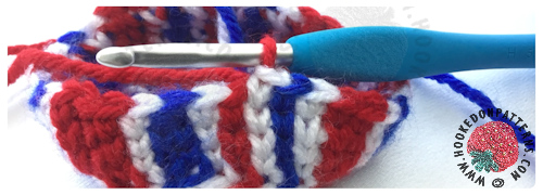 Crochet Union Jack Fascinator Free Pattern stitch correction sample