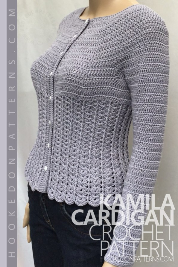 Kamila Fitted Cardigan Crochet Pattern Pin - Crochet Patterns To Wear from Hooked On Patterns