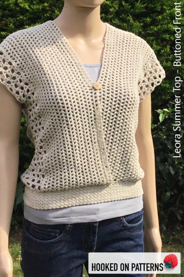 Crochet Summer Top Pattern - Versatile Vest - Leora Summer Top Crochet Pattern - Multiple Style Options - Buttoned Front