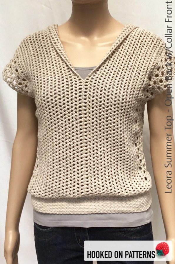 Leora Summer Top Crochet Pattern - Open Back with Collar Front View #CrochetPattern #CrochetToWear #Crochet