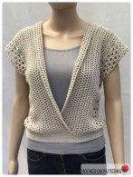 Crochet Sleeveless Top Leora Summer Top Crochet Pattern Folded Open Front View
