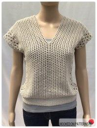 Crochet Sleeveless Top Leora Summer Top Crochet Pattern Open Back V Front View
