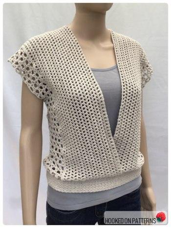 Crochet Sleeveless Top Leora Summer Top Crochet Pattern Open Front View