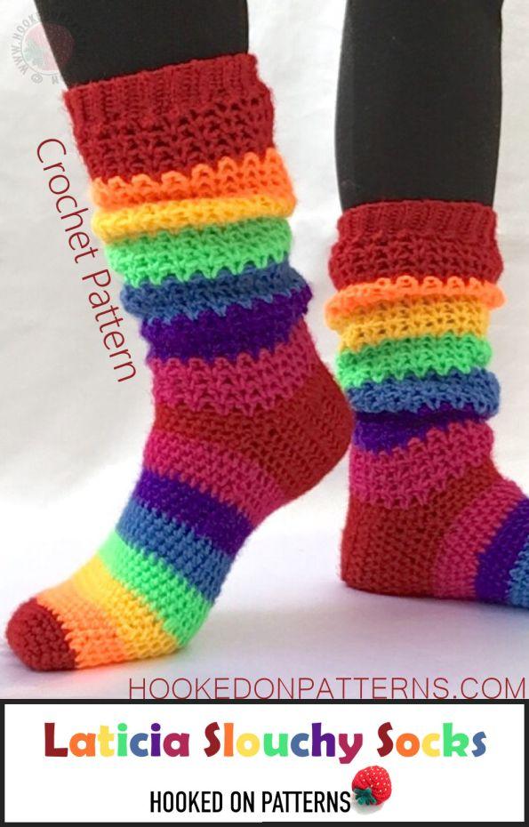Socks Crochet Pattern - Happy Rainbow Socks - Laticia Slouchy Crochet Patterns To Wear Blog