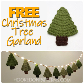 """An image of a crocheted Christmas tree ornament and tree garland with fairy lights. Text overlay """"FREE Christmas Tree Garland"""" and hookedonpatterns.com"""