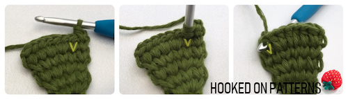 Supporting image for the free Christmas tree garland crochet pattern showing a demonstration of the split hdc stitch. Features the Hooked On Patterns logo.