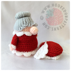 Christmas Eve Gonk Crochet Pattern by Hooked On Patterns Eve Gonk with hat and apron off image